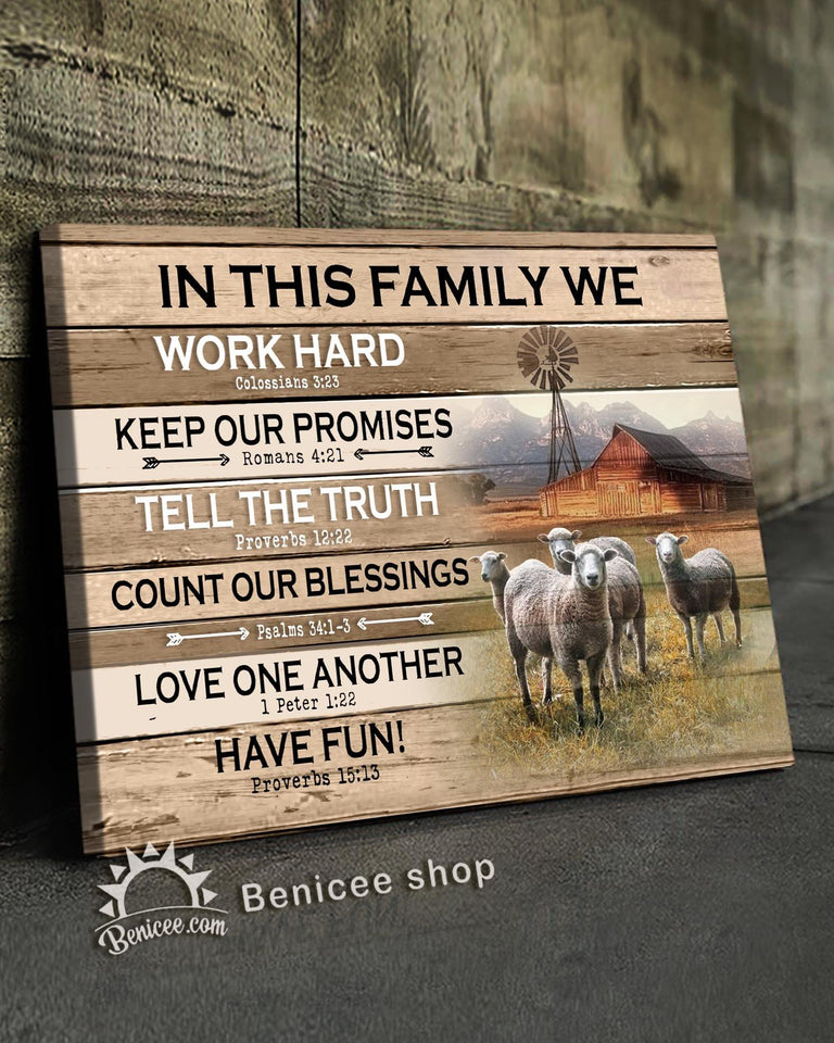 BENICEE Farm In This Family Sheep Wall Art Canvas-canvas-Benicee