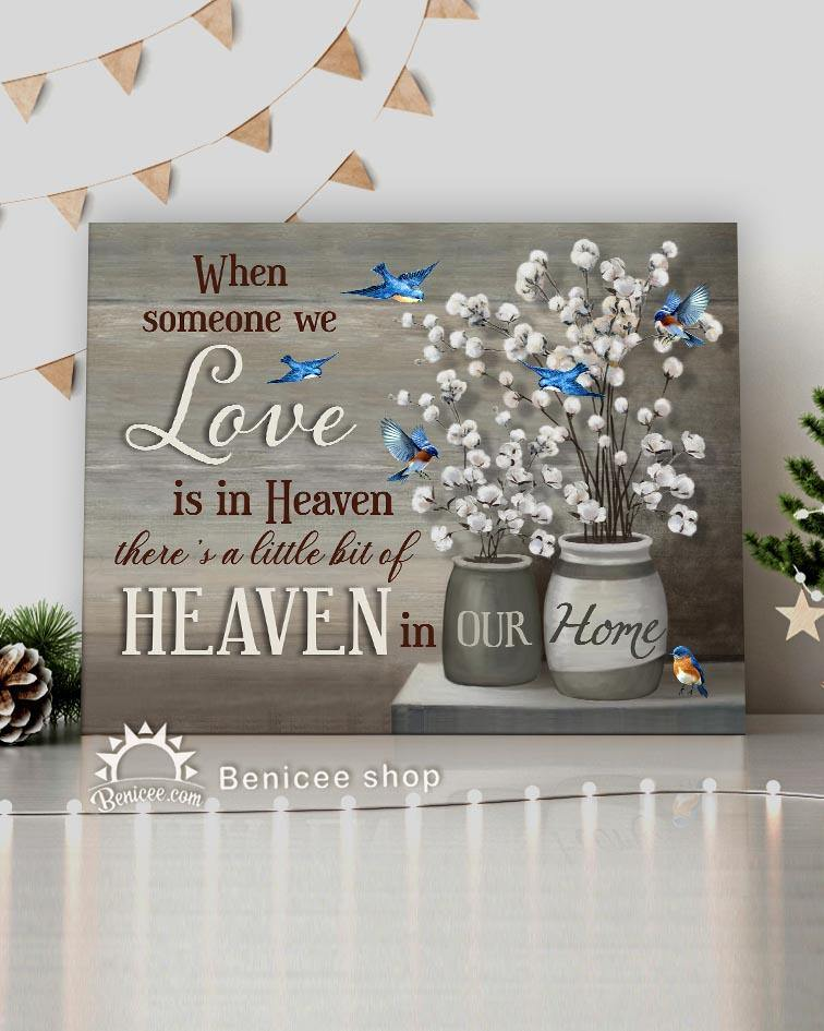 Memorial Gift Canvas - Heaven Hummingbirds & Cotton Flowers Top 5 BENICEE-canvas-Benicee