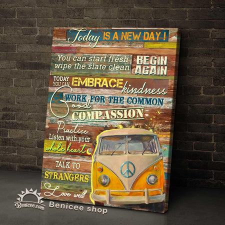 BENICEE Hippie Style Top 5 Wall Art Canvas Today Is A New Day! Hippie Bus