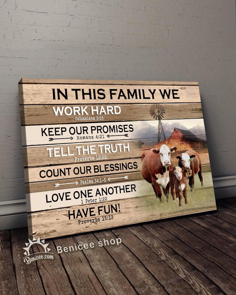 BENICEE Farm In This Family Hereford Wall Art Canvas-canvas-Benicee