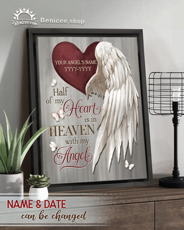 BENICEE  Personalized Memorial Gift Frame Canvas Wall Art Haft of my Heart Top 3 Home Decor