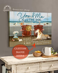 BENICEE Custom Name You & Me And The Dog Wall Art Canvas-Canvas-Benicee