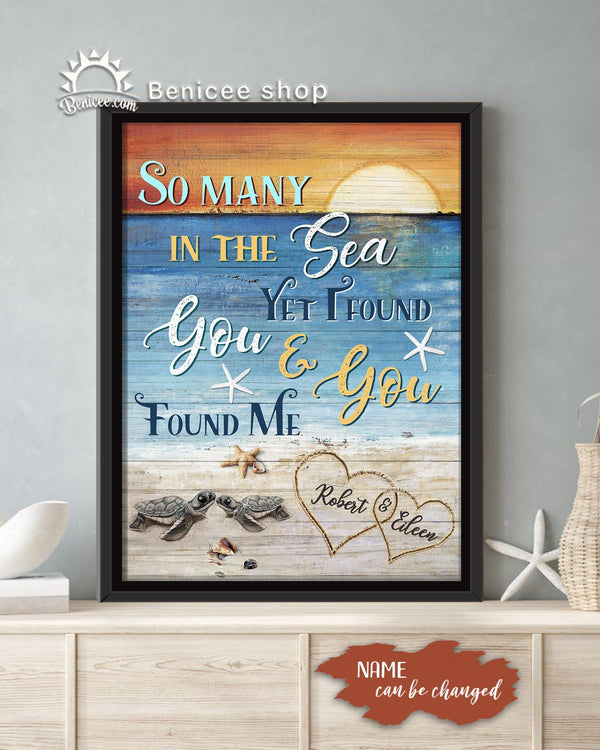 Anniversary Gift Framed Canvas Wall Art I Found You And You Found Me Coastal Theme BENICEE SHOP-framed canvas-Benicee