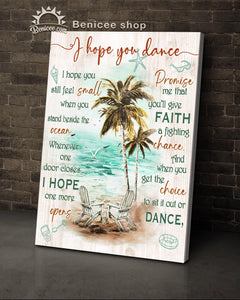 BENICEE Top 3 Beach House Decor, I hope you dance Wall Art Canvas, Empty Chairs-Canvas Print-Benicee