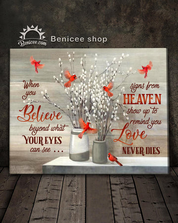 Memorial Gift Canvas - Heaven I Love Never dies Cardinals Version Top 5 BENICEE-canvas-Benicee