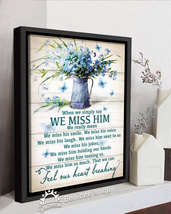 BENICEE  Personalized Memorial Gift Frame Canvas Wall Art We miss Him Top 3 Home Decor