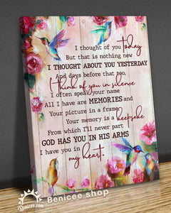 Memorial Gift Canvas - Hummingbirds I thought of you Today Top 5 BENICEE-canvas-Benicee