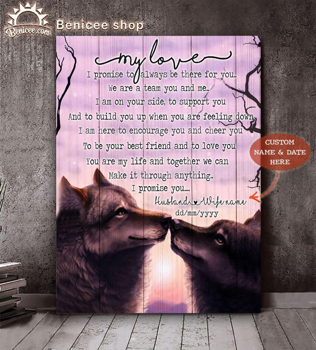 Personalized Valentine Gift Wall Art Canvas My Love I Promise You Wolf Couple Top15 BENICEE-canvas-Benicee