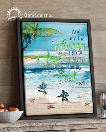 BENICEE Turtle Framed Canvas Into The Ocean I Go Wall Art Canvas