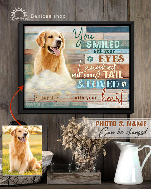 BENICEE Personalized Pet Gift Frame Canvas Wall Art You Smiled with your Eyes Top 3 Home Decor-Framed Canvas-Benicee