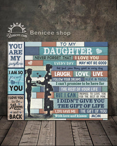 BENICEE Family To my daughter Blue wooden Wall Art Canvas-canvas-Benicee