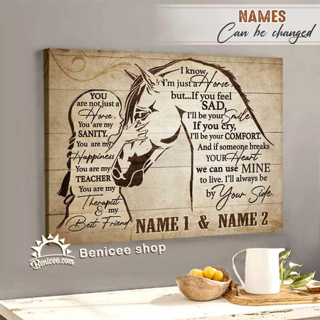 BENICEE Personalized Horse Framed Canvas/Wrapped Canvas I'll always be by your side Home Decor-Framed Canvas, Canvas Print-Benicee