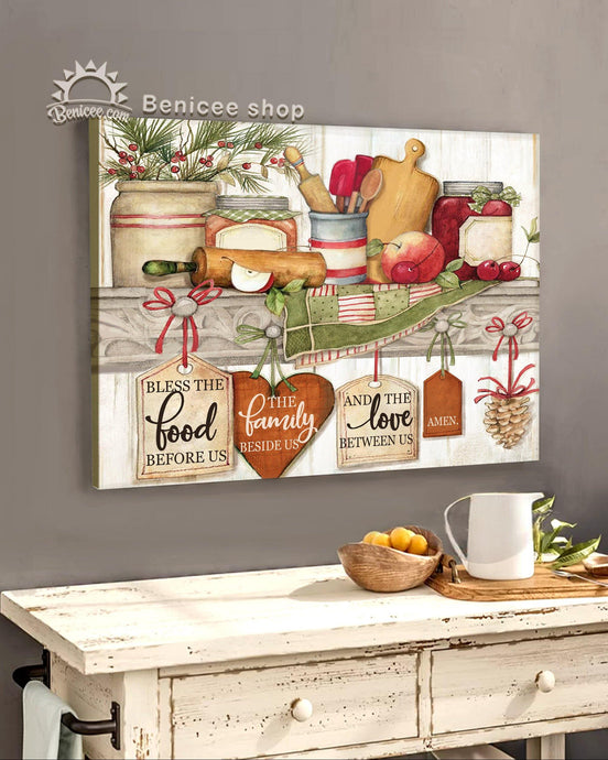 BENICEE Family, Kitchen sign, Bless the food beside us, Kitchen cabinet artwork, Wall Art Canvas-Canvas Print-Benicee