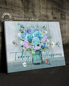 BENICEE Hippie Flower Today I choose Happiness Bluebirds Hydrangea Wall Art Canvas-canvas-Benicee
