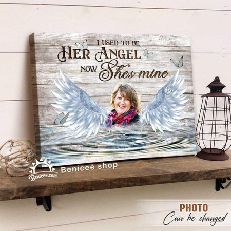 Personalized Memorial Gift Wall Art Canvas She is my angel...Top 3 At BENICEE-Canvas Print-Benicee