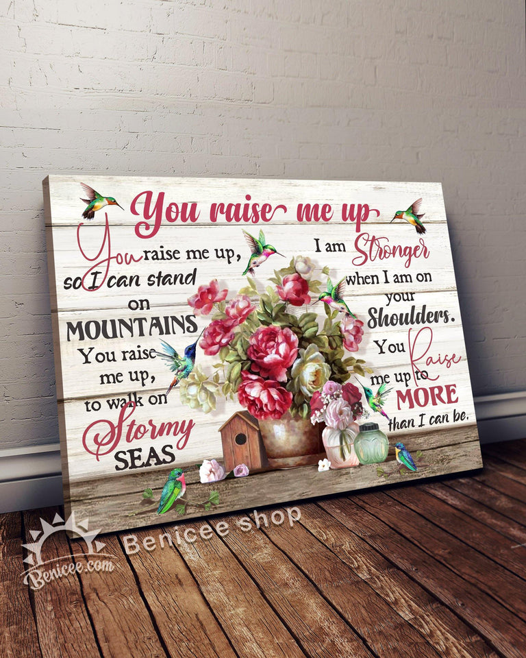 Memorial Gift Canvas - Heaven Hummingbird - You Raise Me Up Top 3 BENICEE-Canvas Print-Benicee