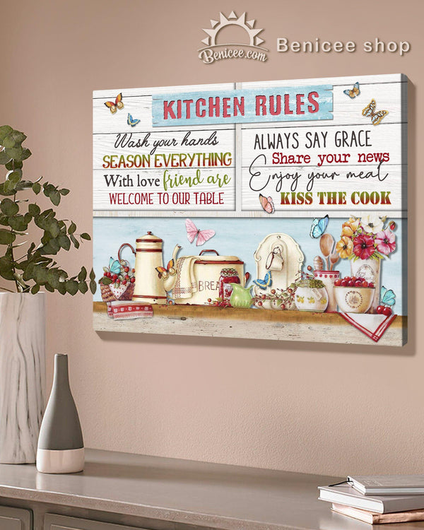 BENICEE Top 5 Family Home Decor Canvas - Kitchen Rules-Canvas Print-Benicee