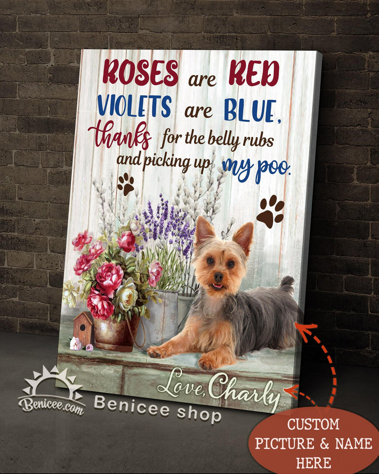 BENICEE Custom Name and Photo Personalized Dog Flower Dog Wall Art Canvas-Canvas-Benicee