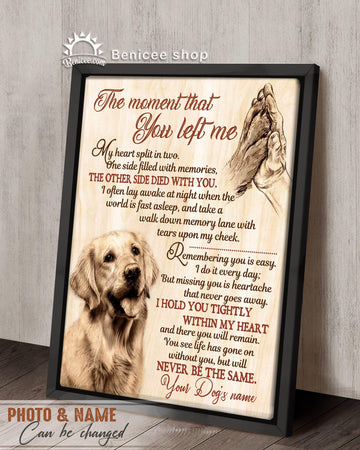 Personalized Memorial Pet Gift Frame Canvas Top 5 Wall Art The Moment That You Left Me