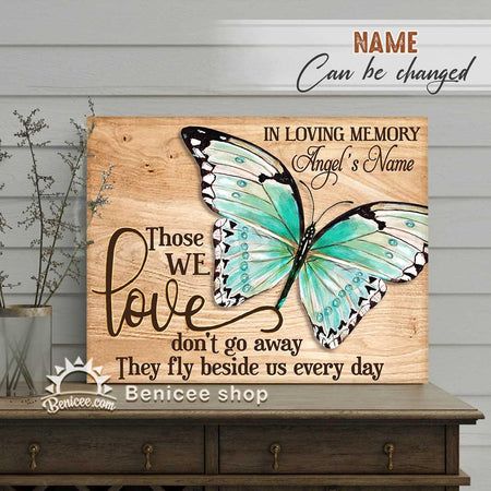 BENICEE Personalized Memorial Gift Framed Canvas/Wrapped Canvas They fly beside us every day BUTTERFLY Top 3 Home Decor-Framed Canvas, Canvas Print-Benicee
