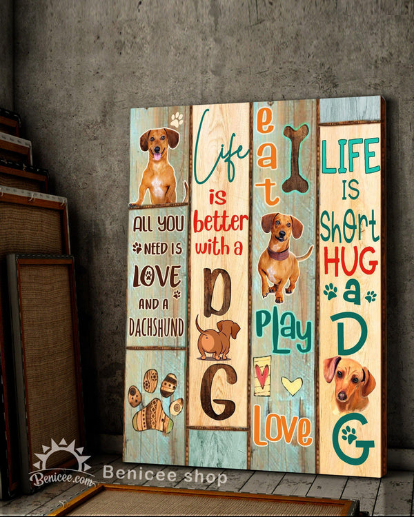 BENICEE Dog, Dachshund, Life is short hug a dog, Pet signs Wall Art Canvas-Canvas Print-Benicee