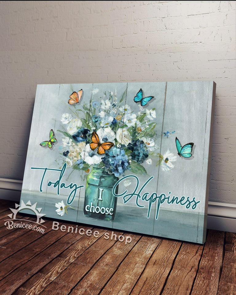 BENICEE Hippie Flower Today I choose Happiness Butterfly Flowers Wall Art Canvas-canvas-Benicee
