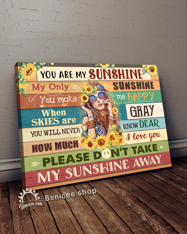BENICEE Hippie Sunflower You Are My Sunshine Wall Art Canvas-canvas-Benicee