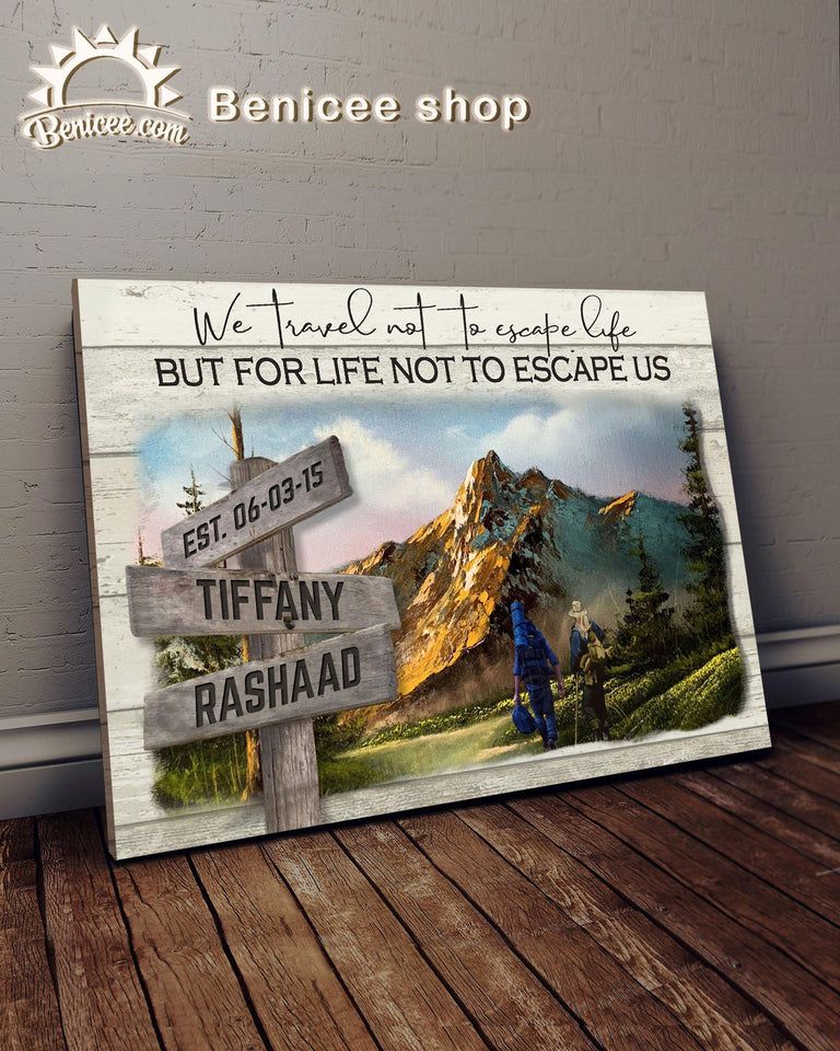BENICEE Custom Name Hiking we travel not to ... Wall Art Canvas-canvas-Benicee
