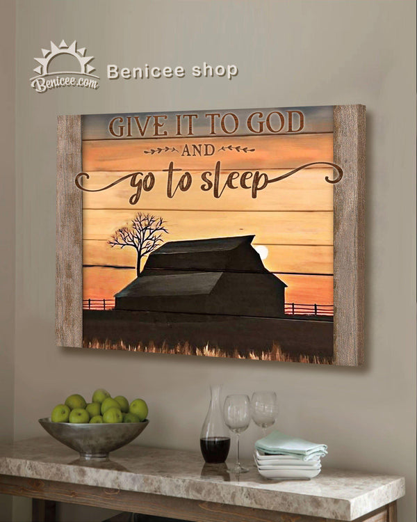 BENICEE Farmhouse Decor Wall Art Give it to God Top 3 Home Decor-Canvas Print-Benicee