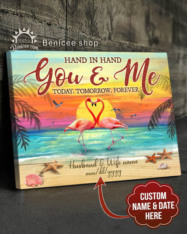 BENICEE Custom Name Ocean Hand in hand you & me Flamingo Wall Art Canvas-canvas-Benicee
