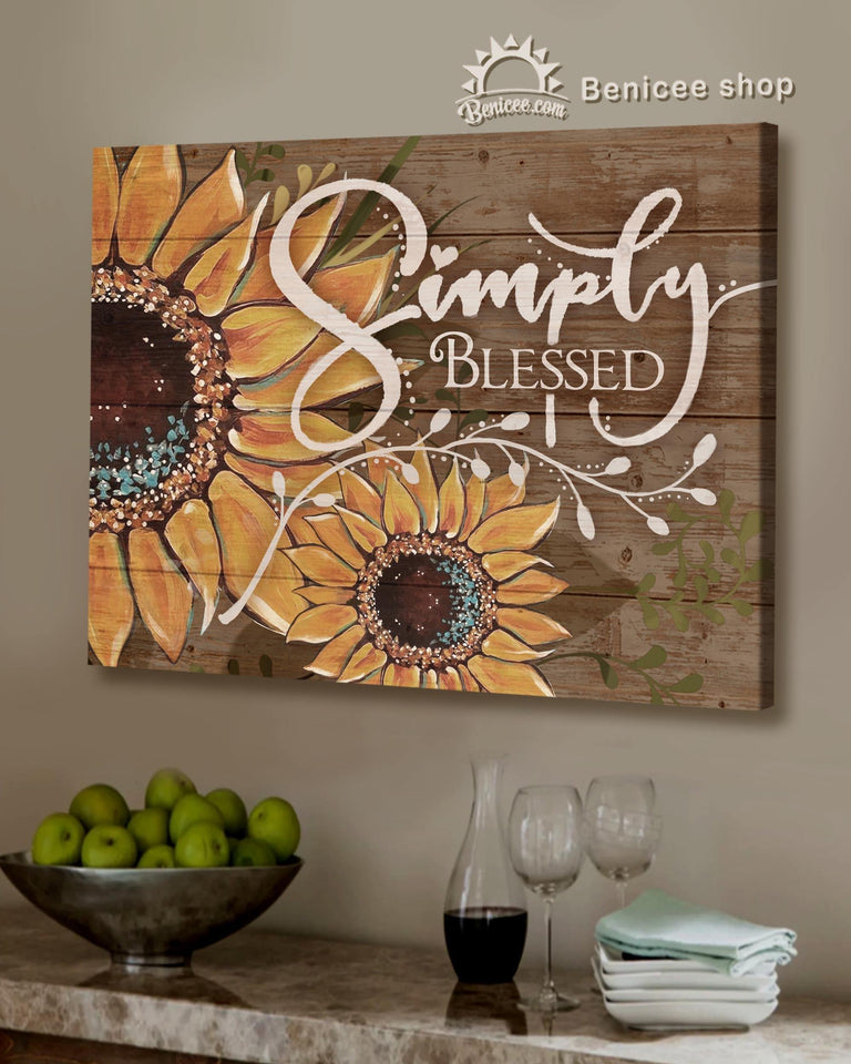 BENICEE Top 3 Hippie Canvas Decor - Simply Blessed Sunflower Wall Art Canvas Vintage version-Canvas Print-Benicee