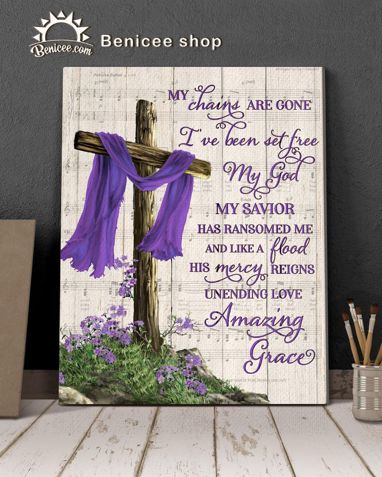BENICEE Heaven Cross Amazing grace OP Wall Art Canvas-canvas-Benicee