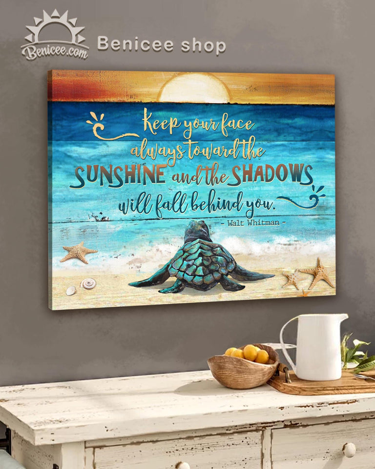 BENICEE Ocean Toward the sunshine Baby sea turtle signs Beach house decor Wall Art Canvas-canvas-Benicee