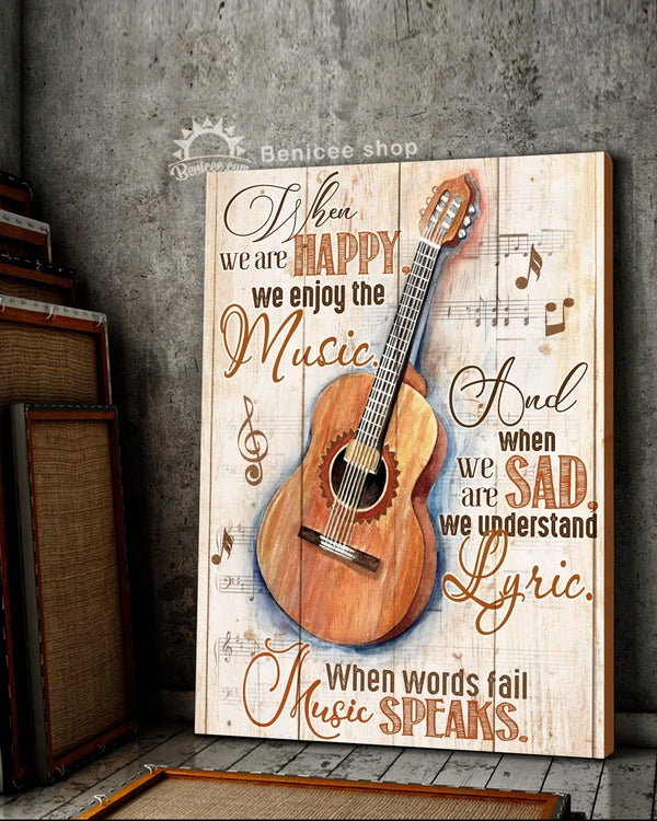BENICEE Top 3 Guitar Canvas Decor - When words fail music speaks Wall Art Canvas-Canvas Print-Benicee