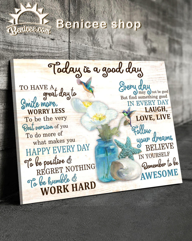BENICEE Ocean Today Is A Good Day Wall Art Canvas-Canvas-Benicee