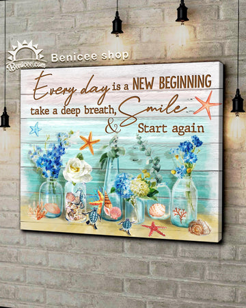 BENICEE Hippie Style Top 5 Ocean Wall Art Canvas Everyday Is A New Beginning