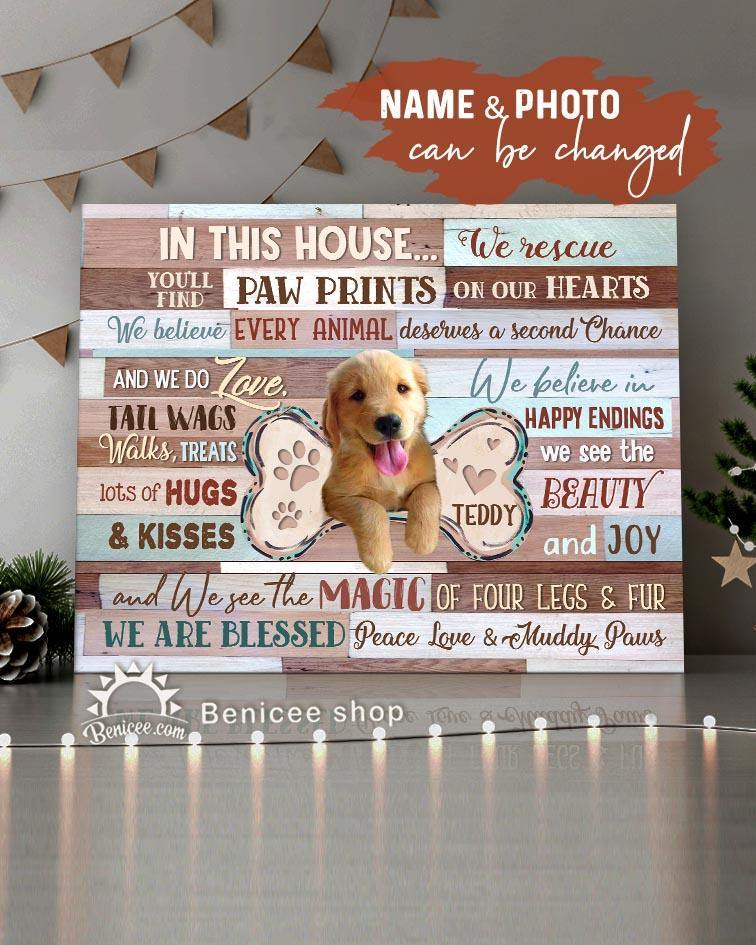 BENICEE Top 3 Personalized Custom Photo Dog Wall Art Canvas - In this house we rescue-Canvas Print-Benicee