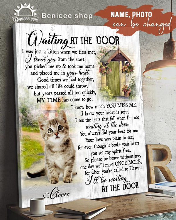 BENICEE Top 3 Memorial Cat Custom Photo and name - Waiting at the door Pet lovers Wall Art Canvas-Canvas Print-Benicee