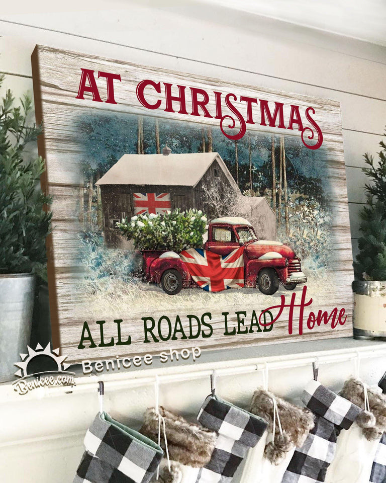BENICEE Top 3 Christmas Canvas Decor - Red Truck All Roads lead home Wall Art Canvas United Kingdom flag-Canvas Print-Benicee