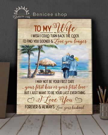BENICEE Ocean family to my wife walking on the beach Wall Art Canvas-canvas-Benicee