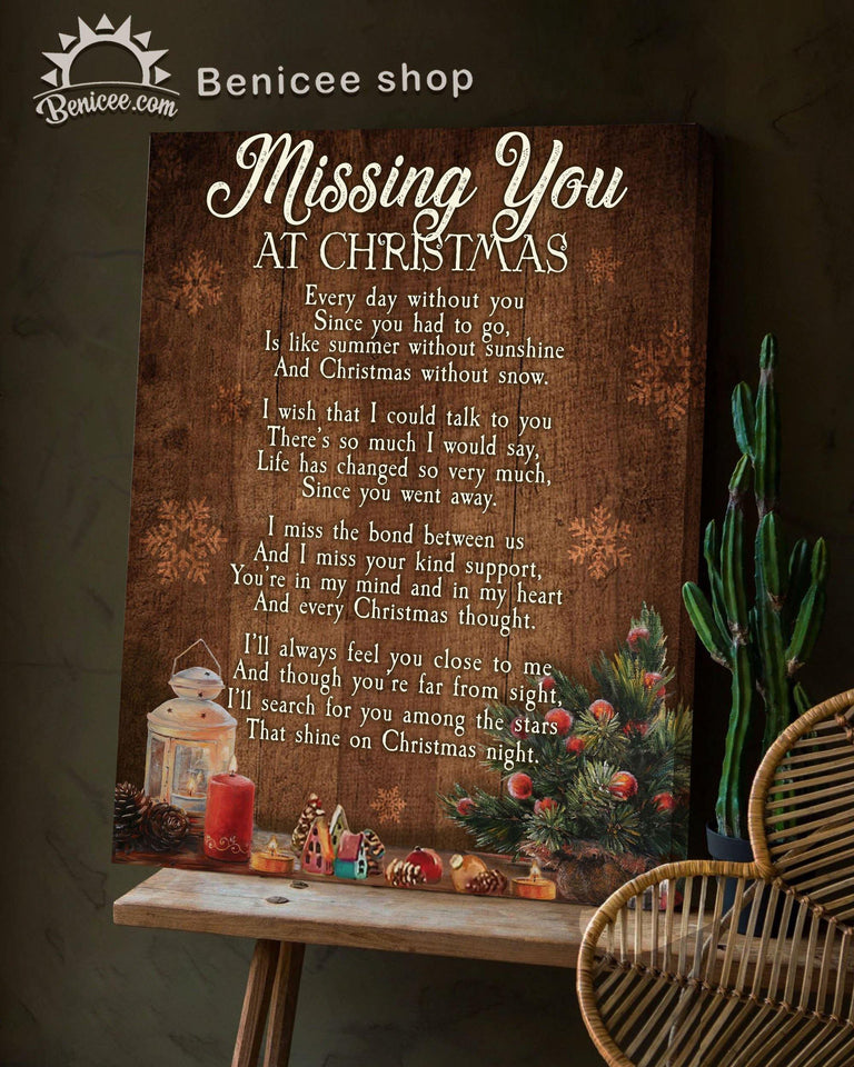 BENICEE Top 3 Memorial Christmas Canvas - Missing you at Christmas Wall Art Canvas - Brown Version-Canvas Print-Benicee
