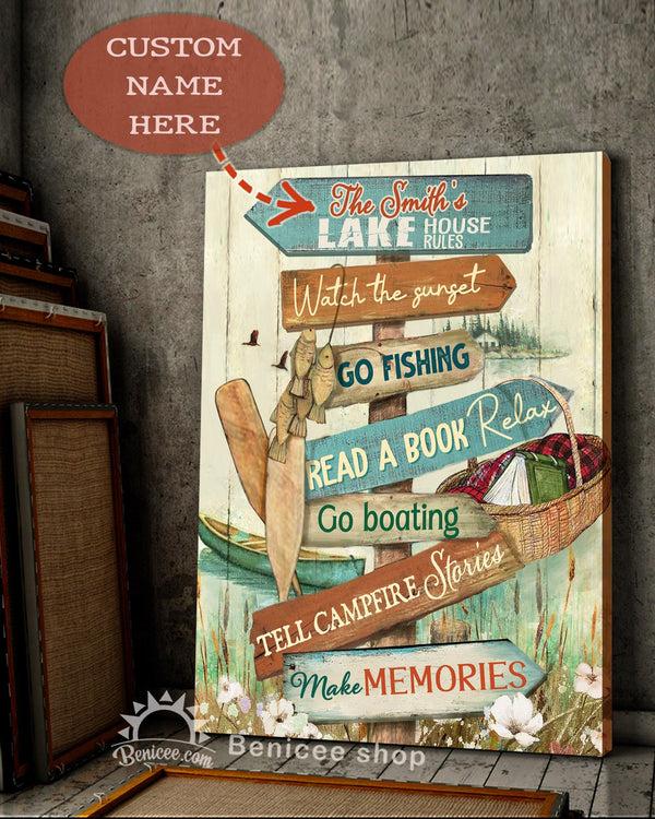 BENICEE Top 3 Personalized Lake house rules Canvas - Cabin Decor-canvas-Benicee