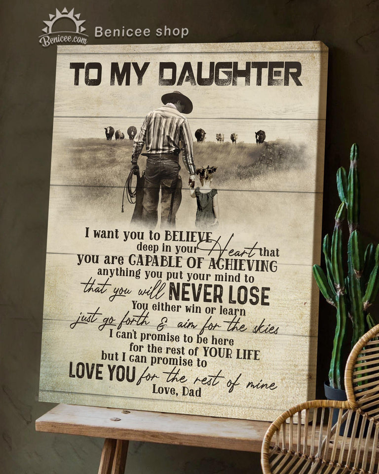 BENICEE Top 3 Country Living Canvas Decor - To my Daughter Wall Art Canvas Dad and Daughter-Canvas Print-Benicee