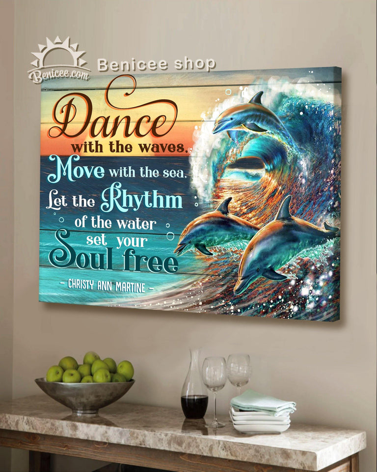BENICEE Top 3 Beach House Decor - Set your soul free Wall Art Canvas Dolphin-Canvas Print-Benicee