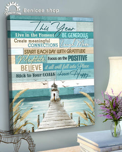 BENICEE Top 3 Beach House Decor - This year Wall Art Canvas Blue wood-Canvas Print-Benicee