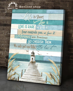 BENICEE Beach Life is short so live it, Dock signs Wall Art Canvas-Canvas Print-Benicee