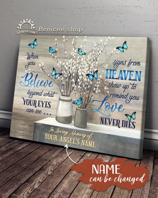 Personalized Memorial Gift Canvas Love Never Dies Blue Butterflies Version Top 5 BENICEE-canvas-Benicee