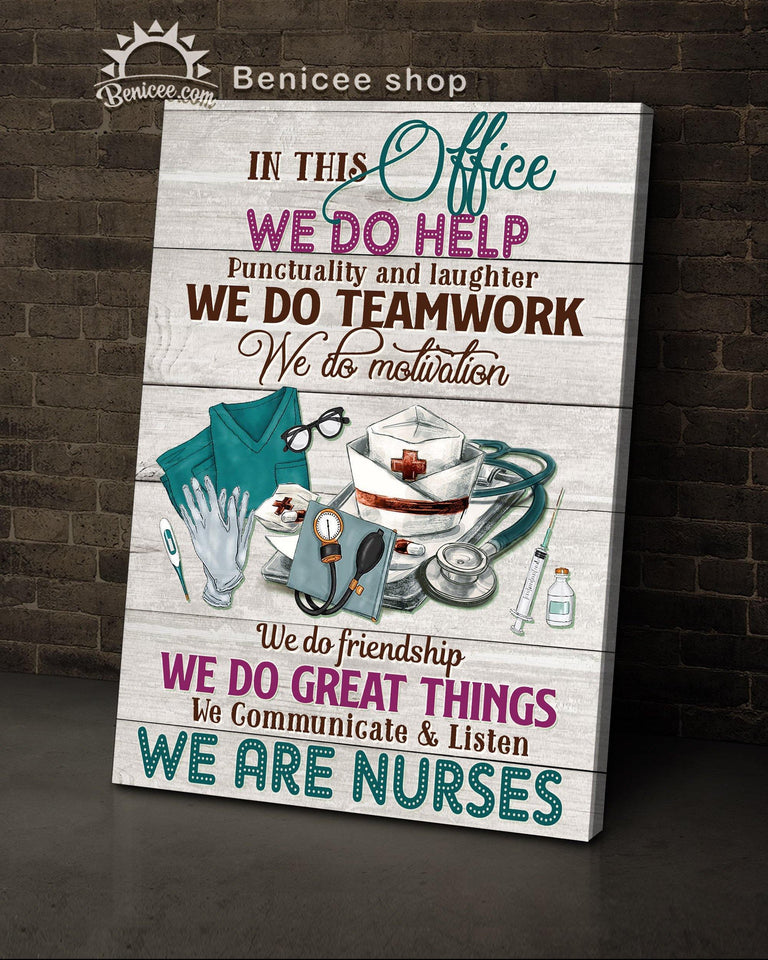 BENICEE Top 3 Nurse canvas decor - In this office we are a team Wall Art Canvas Pink Vintage color-Canvas Print-Benicee