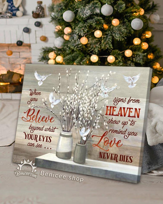 Memorial Gift Canvas - Heaven I Love Never Dies Doves Version Top 5 BENICEE-canvas-Benicee