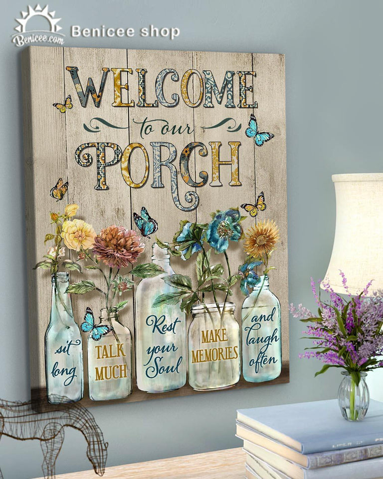 BENICEE Top 3 Porch Canvas Decor - Welcome to our porch Wall Art Canvas Vintage color-Canvas Print-Benicee
